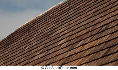 Closer image Cedar wooden shingles roof roofing roofworking...