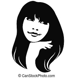 mysterious girl - portrait beautiful girl vector...