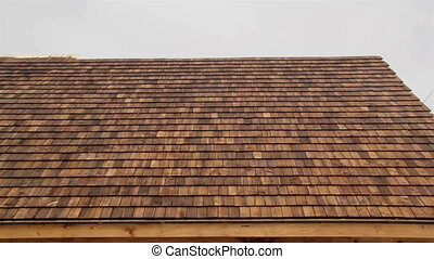Zoomed Cedar wooden shingles roof roofing roofer - Zoomed...