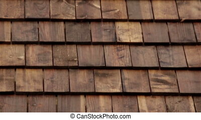 Cedar wooden shingles roof roofing roofs tiles - Upward view...