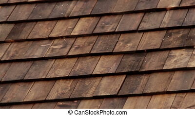 Closer Cedar wooden shingles roof roofing roof industry -...