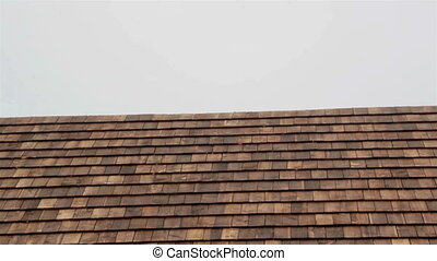 Cedar wooden shingles shake roof roofing roofs focused -...