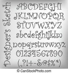 Abstract vector illustration of a pencil sketched alphabet