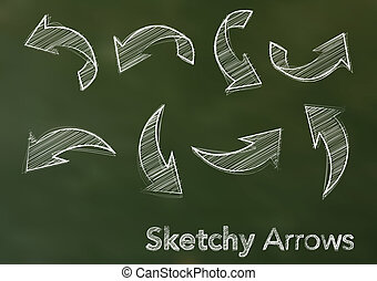 Abstract vector illustration of white sketchy arrows on a...