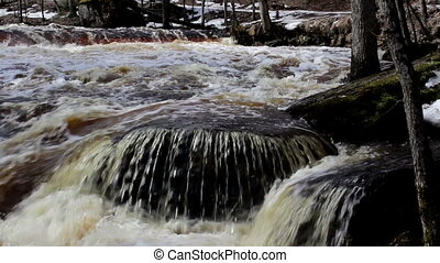 Rushing water stream flowing in the river is in different...