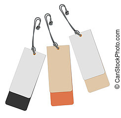 Set of multi-coloured labels on a white background