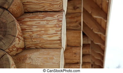 Close image the cabin log house tenon - Close image of the...