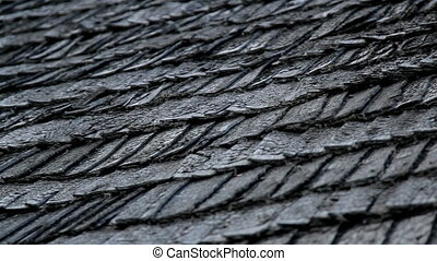 The old cedar wooden shingle shake roof of the house