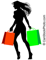Shopaholic - Silhouette of woman with packages on a white...