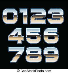 Vector metal font - Vector set of metallic numbers
