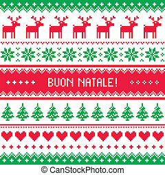 Buon Natale card - scandynavian - Winter red and green...