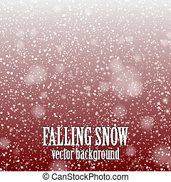 falling snow on the red background - vector image