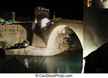 Old Bridge by night - Famous Old Bridge in Mostar by night.