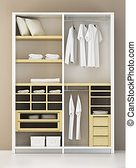 Inside the modern closet 3d rendering