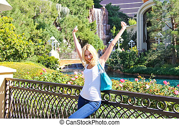 Vacation in Las Vegas Happy girl in the park