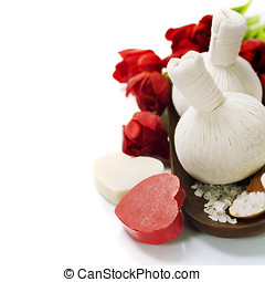Bath and spa Valentine theme with thai herbal compress...