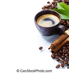 coffee - Fresh coffee over white background