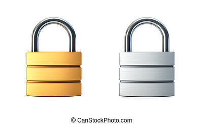 metal closed lock isolated 3d rendering