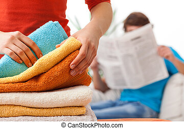 Unfair distribution of household duties - Women working...
