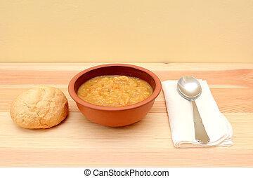 有硬殼, 碗, 湯, 蔬菜, 捲,  bread