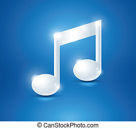 White shiny music note on the blue background