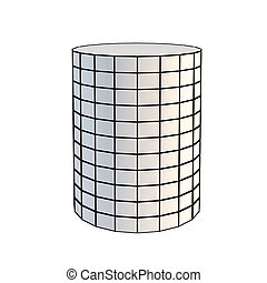 faceted white 3d cylinder