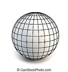 faceted white 3d sphere