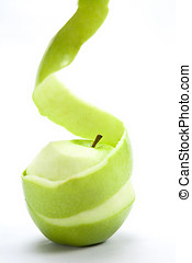 Green Apple peeled isolated on a white background