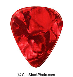 Guitar Plectrum - red guitar plectrum, isolated on white...