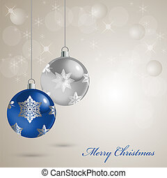 Christmas card with colored balls on a snow background