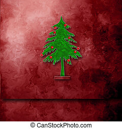 Christmas card with space for writing fir tree on maroon...