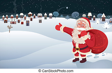 Santa Claus Arrival - An illustration with Santa Claus...