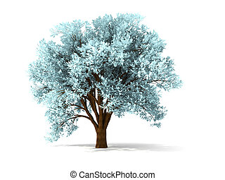 3d wintry tree - isolated wintry tree with yellow foliage