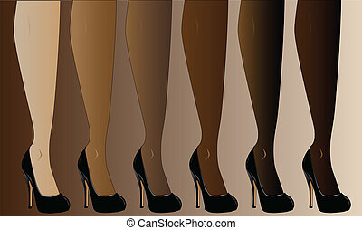 Shapely - Legs in various skin tones, all wearing stiletto...