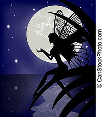 Silhouette fairy girl holding a star on a background with...