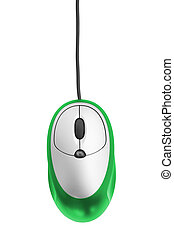 computer mouse - green computer mouse isolated on white