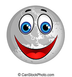 Smiling Planet Moon Cartoon Character