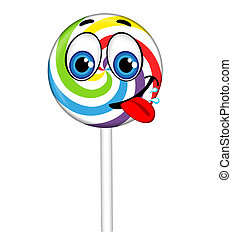 Colorful lollipop with eyes and smile, vector illustration
