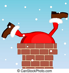 Santa Claus stuck in the chimney on the roof