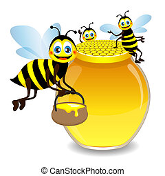 Jar with honey and funny bees
