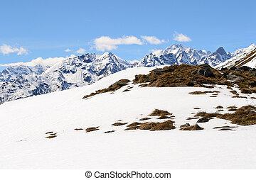 High mountain range in spring