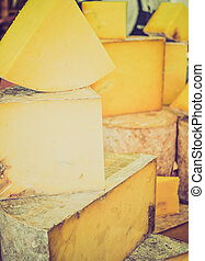 Vintage looking Cheddar cheese - Retro looking Fine...
