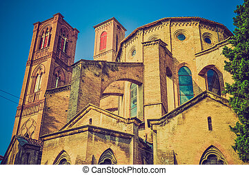 Vintage looking Bologna Italy - Retro looking San Francesco...