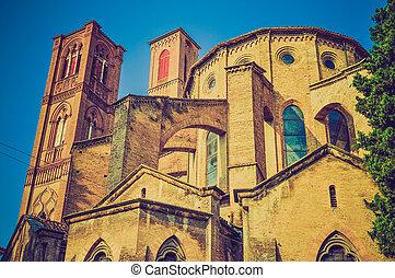 Vintage looking Bologna Italy - Retro looking San Francesco...