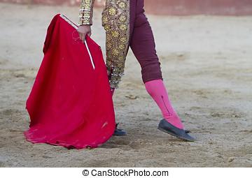 de, spaanse, Stierenvechter, Muleta, arena