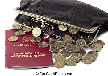 Russian Pension Certificate and wallet with money