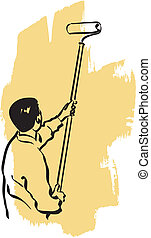 house painter - illustration of an house painter at work