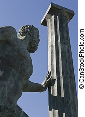 Hercules and pillar statue at the entrance to Ceuta Harbour...