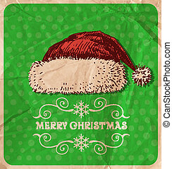 Christmas hat - Hand-drawn Christmas hat on green dot...