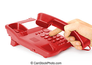 red phone - finger presses the button on red phone
